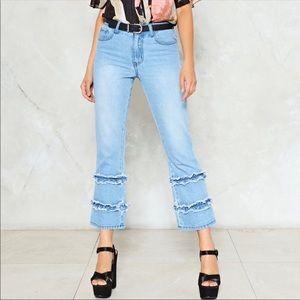 Nasty Gal Hem Fatale Flare Jeans
